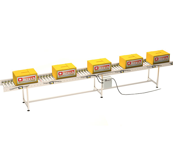 Zero pressure accumulation intralogistic conveyor for carton